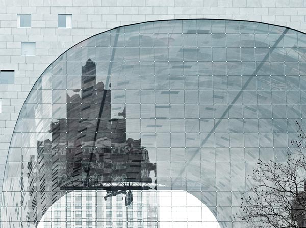 The glass facade of the The Market Hall in Rotterdam