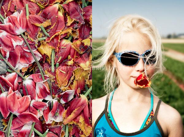 Girl in a field of tulips